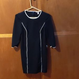 Modern Black and White Mini Dress 3/4 Sleeve